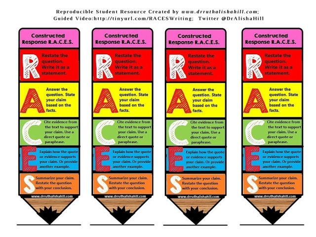 R.A.C.E.S. Writing Strategy Bookmark – Conversations with Dr. Ruth